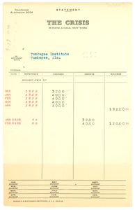 Invoice from Crisis to Tuskegee Institute