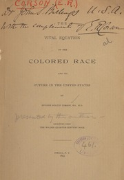 The vital equation of the colored race and its future in the United States