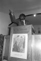 Richard Boone speaking to an audience at First Baptist Church in Eutaw, Alabama.