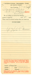 Invoice from International Newsreel Corporation to Crisis