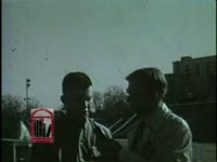 WSB-TV newsfilm clip of students at the University of Georgia responding to a reporter's questions about the school's integration in Athens, Georgia, 1961 January