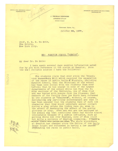 Letter from J. Thomas Newsome to W. E. B. Du Bois
