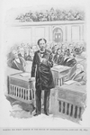 Making his first speech in the House of Representatives, January 16, 1891