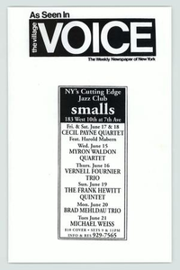 Advertisement: smalls, NY's Cutting Edge Jazz Club GLBT events