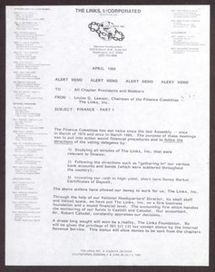 Memorandum from Louise Q. Lawson to All Chapter Presidents and Members - April 1980 San Antonio Chapter of Links Records Links National Papers