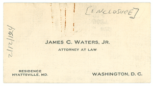 Letter from James C. Waters to W.E.B. Du Bois