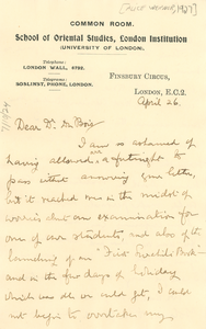 Letter from Alice Werner to W. E. B. Du Bois