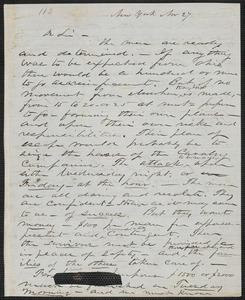 John W. LeBarnes autograph letter to [Thomas Wentworth Higginson], New York, 27 November [1859]