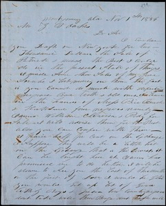 A. J. McElveen, Montgomery, Ala., autograph letter signed to Ziba B. Oakes, 1 November 1856