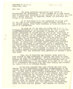 Letter from Interracial Committee of Youngstown, Ohio to the Young Men's Christian Association of Youngstown, Ohio