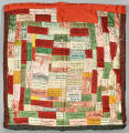 Pillow sham made up of silk advertising ribbons from Pinehurst dance hall, Town of Sheridan, Dunn County, 1924-1927.