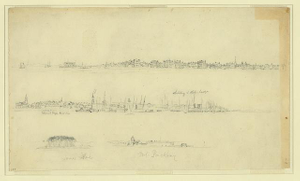 [Four sketches of towns, forts, and ships]