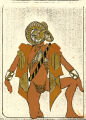 Thumbnail for Costume design drawing, male dancer in mask, facing left, Las Vegas, June 5, 1980