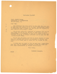 Letter from Thomas J. Calloway to Donald Young