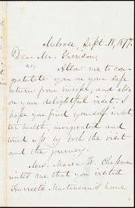 Letter from Mary Ashton Livermore, Melrose, [Mass.], to William Lloyd Garrison, Sept[ember] 18, 1877