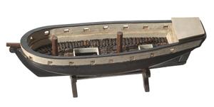 Folk art model of a slave ship on stand