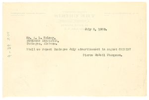 Telegram from Crisis to Tuskegee Institute