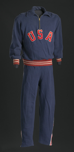 Warm-up sweat suit for the 1952 Helsinki XV Olympics worn by Ted Corbitt