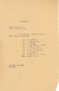 Memorandum from W. E. B. Du Bois to Miss Feger