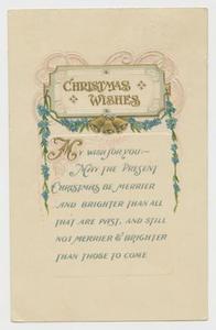 Postcard of Christmas Wishes