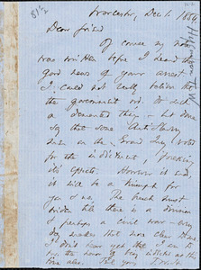 Letter from Thomas Wentworth Higginson, Worcester, [Massachusetts], to Theodore Parker, 1854 Dec[ember] 1
