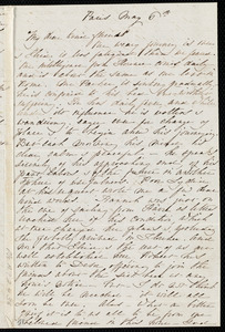 Letter from Sara, Paris, [France], to Miss Weston, May 6th, [1860?]