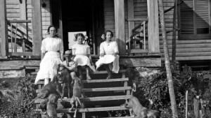 Unidentified group of children playing with dogs.