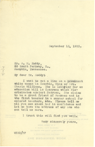 Letter from W. E. B. Du Bois to Bert M. Roddy