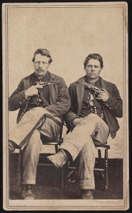 [Two unidentified soldiers in Union uniforms with pistols pointed at each other]