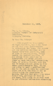 Letter from W. E. B. Du Bois to Tuskegee Normal and Industrial Institute