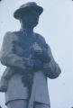 Defaced Confederate monument in downtown Tuskegee, Alabama, after a nighttime student dmonstration protesting the acquittal of Marvin Segrest for the murder of Samuel L. Younge.
