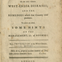 Title page to An essay on the more common West-India diseases (1764)