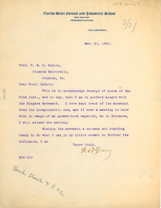 Letter from Nathan B. Young to W. E. B. Du Bois