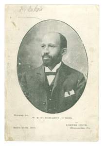 Invitation to dinner in honor of W. E. B. Du Bois