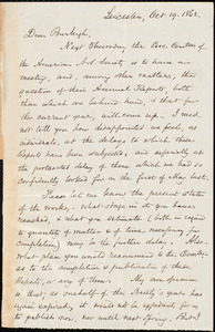 Letter from Samuel May, Leicester, [Mass.], to Charles Calistus Burleigh, Oct. 19, 1862