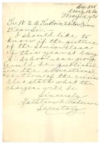 Letter from Gary High School to W. E. B. Du Bois