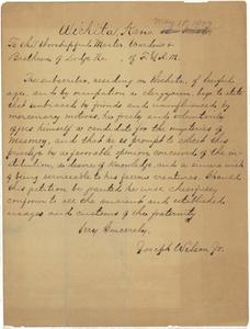 Handwritten petition from Joseph Wilson, Jr., to Arkansas Valley Lodge, No. 21, 1907 May 18