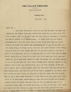 Letter: Valdosta, Georgia to Ben Stein, Macon, Georgia, 1927 July 8