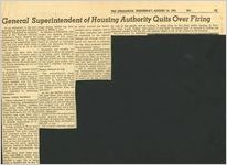 General Superintendent of Housing Authority Quits Over Firing, August 10, 1955