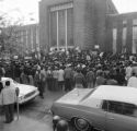Demonstrators gathering in front of the Mobile County Courthouse in Mobile, Alabama, to protest police brutality and the all-white county personnel board.