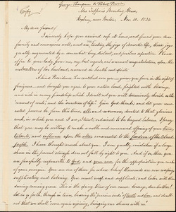 Letter from George Thompson, Roxbury, [Massachusetts], to Robert Purvis, 1834 Nov[ember] 10