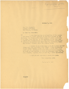 Letter from W. E. B. Du Bois to Dr. Will Alexander