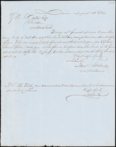 A.A. DeLorme, Darien, Ga., autograph letter signed to Ziba B. Oakes, 22 August 1854