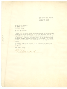 Letter from G. A. Steward to W. E. B. Du Bois