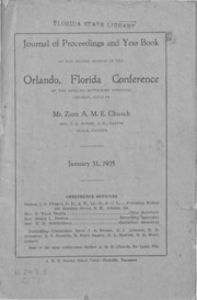 Journal of Proceedings and Year Book of the Second Session of the Orlando, Florida Conference of the African Methodist Episcopal Church
