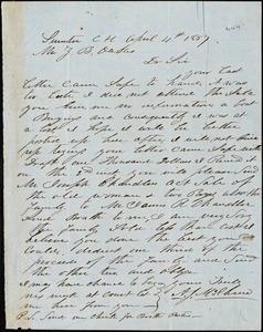 A. J. McElveen, Sumter Court House, S.C., autograph letter signed to Ziba B. Oakes, 4 April 1857