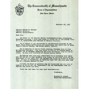 Letter from Reverend Michael E. Haynes to Senator Edward M. Kennedy.