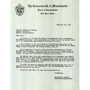 Letter from Reverend Michael E. Haynes to Senator Edward M. Kennedy.