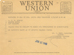 Telegram from Pittsburgh Courier to W. E. B. Du Bois, Walter White, and Roy Wilkins