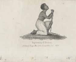 African American female, chained and kneeling...